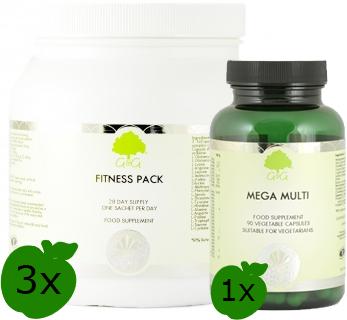 3x Fitness Pack + 1x Mega Multi gratis