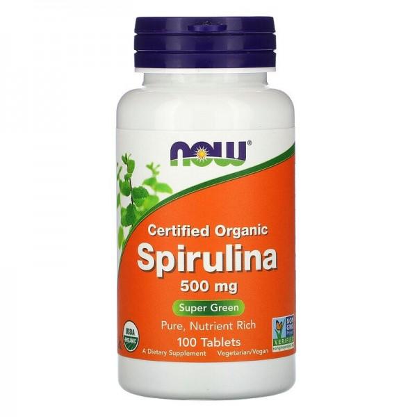 Now Foods, Certified Organic Spirulina, 500 mg, 100 Tabletten